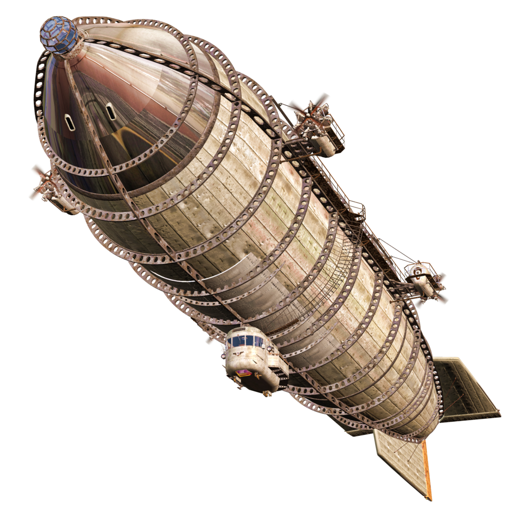 Zeppelin drawing vintage steampunk. Steam airship png stock