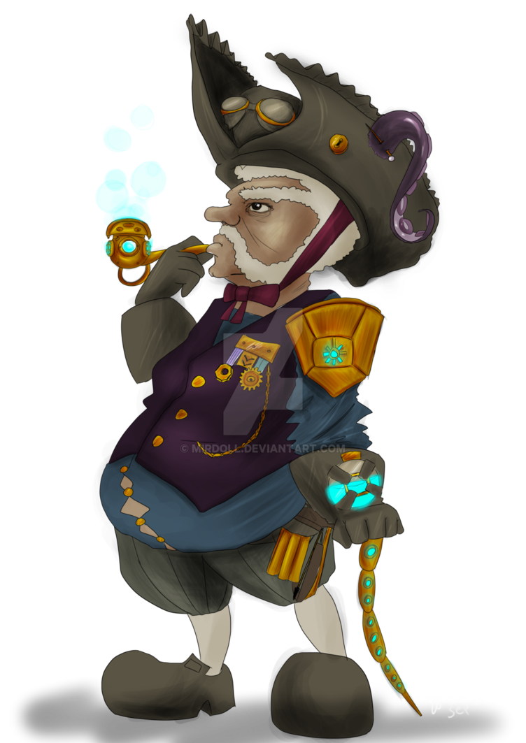 Airship drawing victorian. Gnome captain fendel of