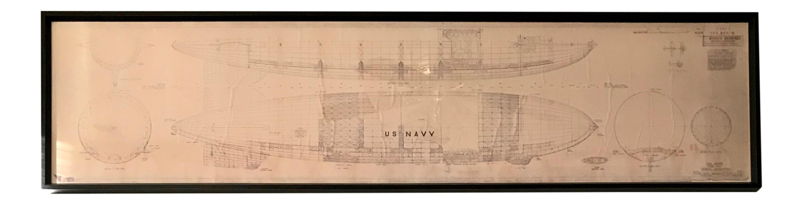 Zeppelin drawing airship. Vintage u s navy