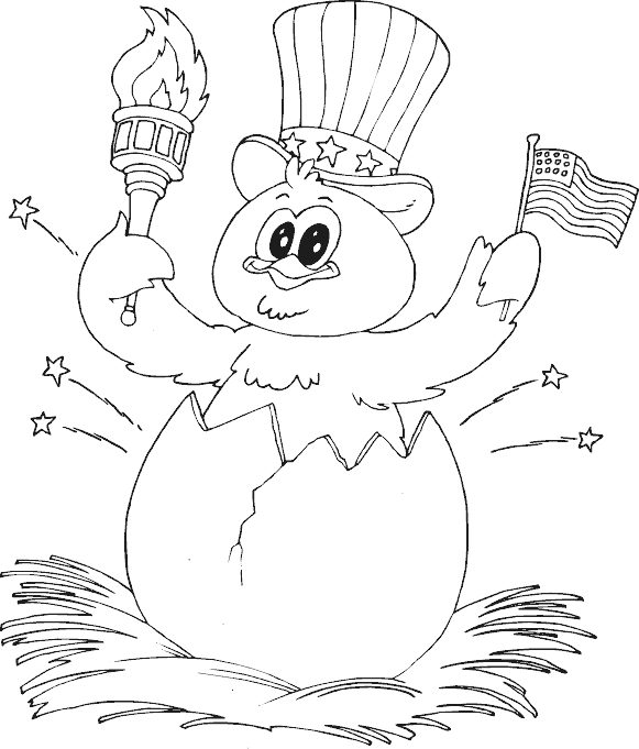 Boss drawing coloring page. Patriotic chick hatching busy