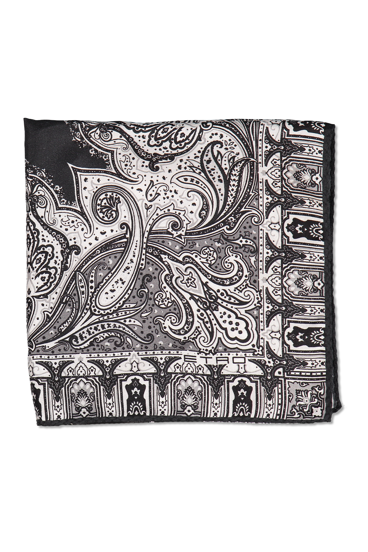 Ak drawing black and white. Etro pocket square paisley