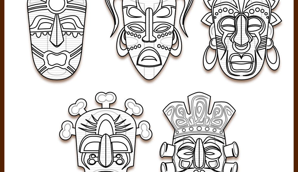 Akuma drawing tiki mask. Coloring pages coloringpages tribal
