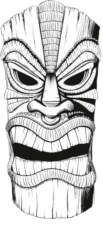 Akuma drawing tiki mask. Polynesia t shirt wooden