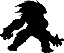 Akuma vector black and white. Street fighter silhouettes of