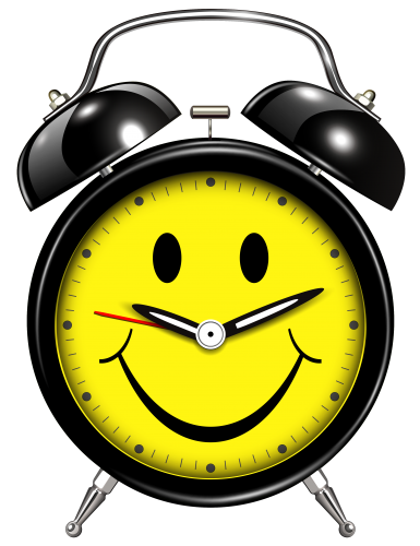 Alarm clipart happy. Clock png images free