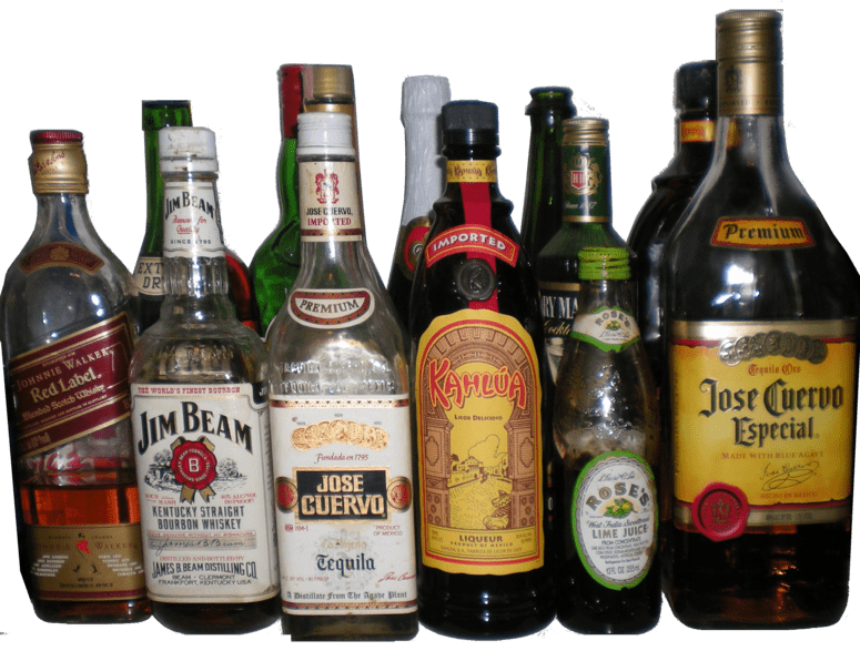 Alcohol png. Collection of bottles transparent