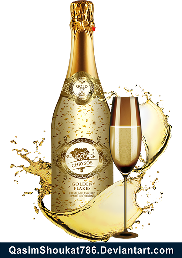 Champagne bottle png. Free gold and glass