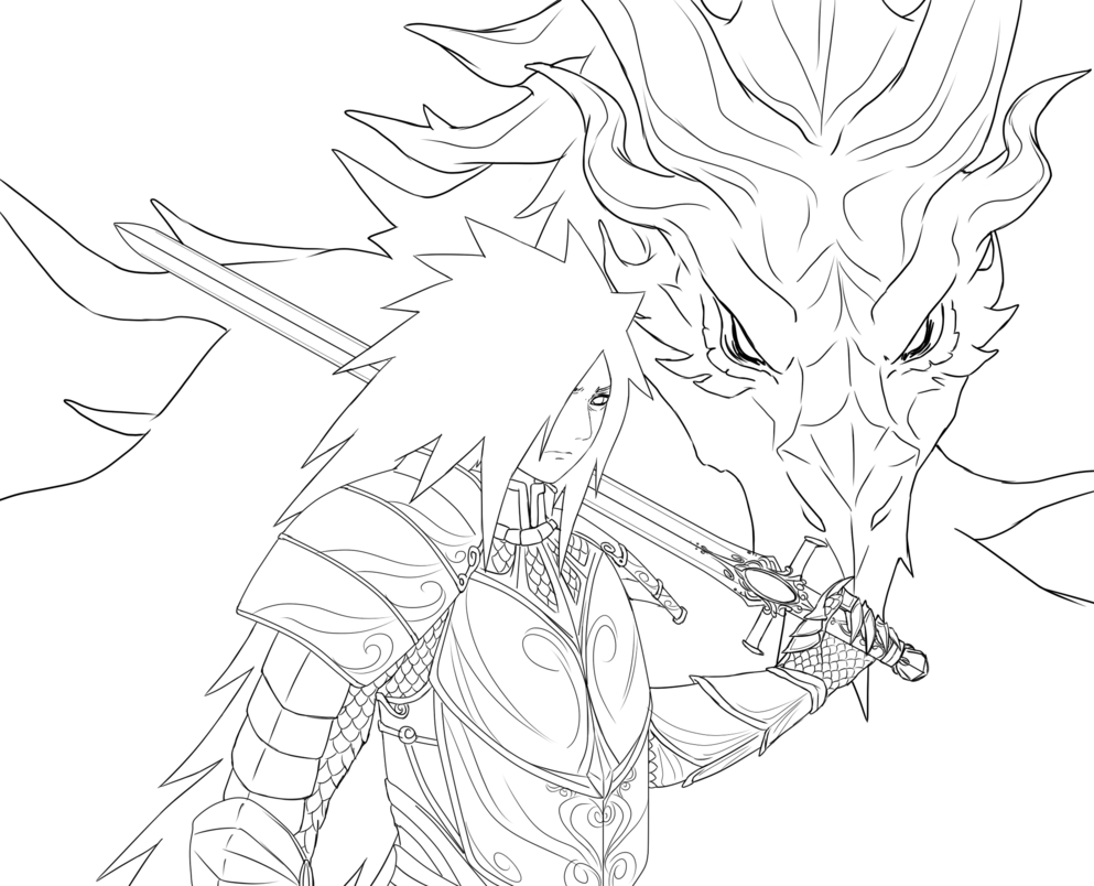 Alduin drawing. Medieval knight lineart madara