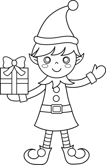 elf clipart black and white