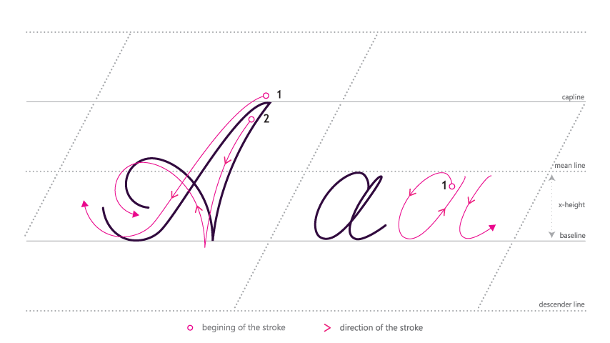 Ali-a png cursive. How to write in