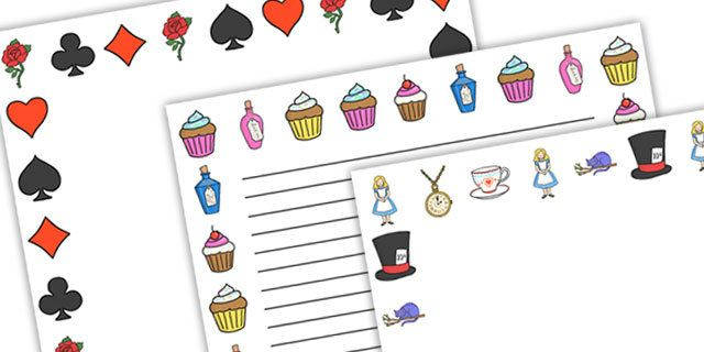 Alice in wonderland clipart wonderland page border. Borders headers themed pages