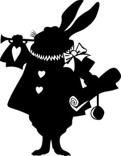 Alice in wonderland clipart wonderland rabbitt. Silhouette free clip art