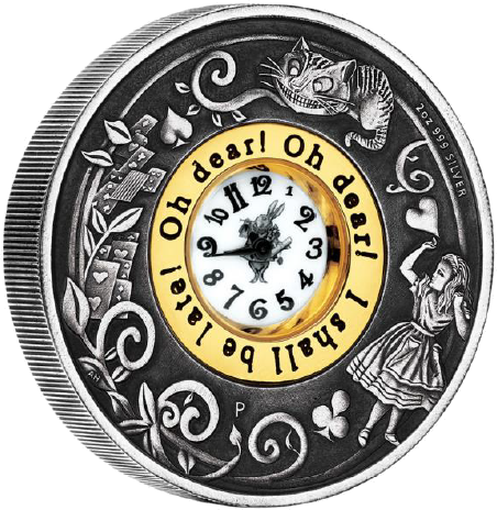 Alice in wonderland clock png. Tuvalu th anniversary of