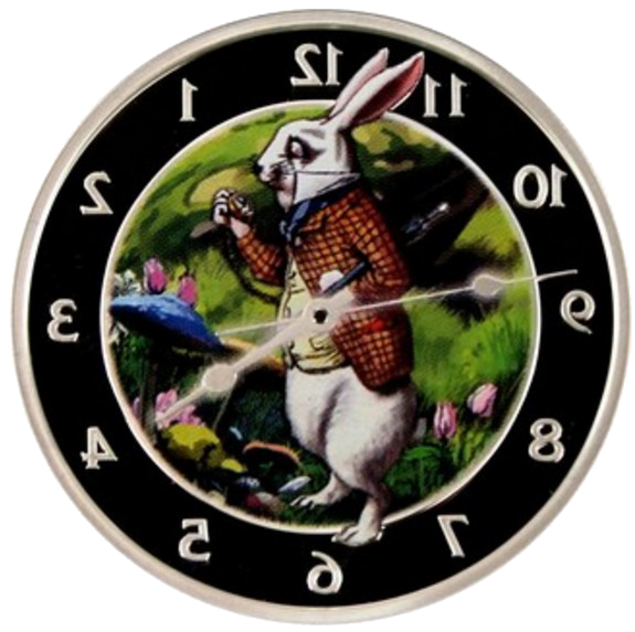 Alice in wonderland clock png. The white rabbit silver