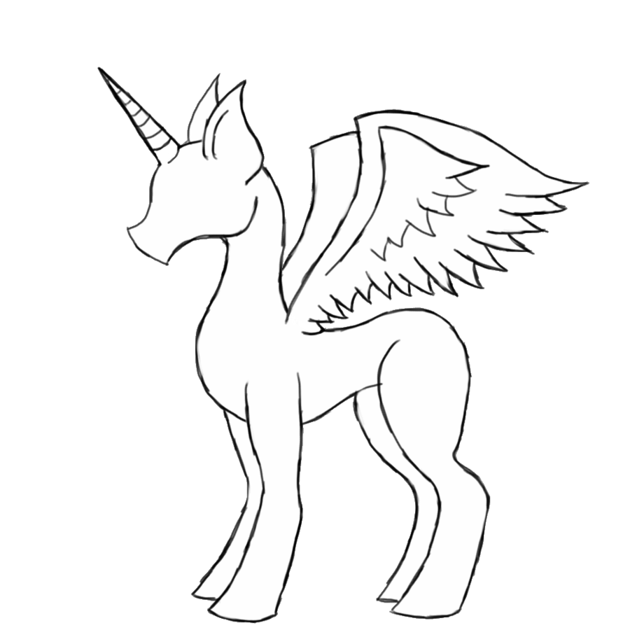 Male or female pony. Alicorn drawing black and white