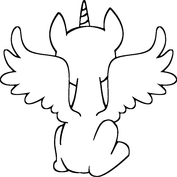 Mlp base . Alicorn drawing clip black and white download