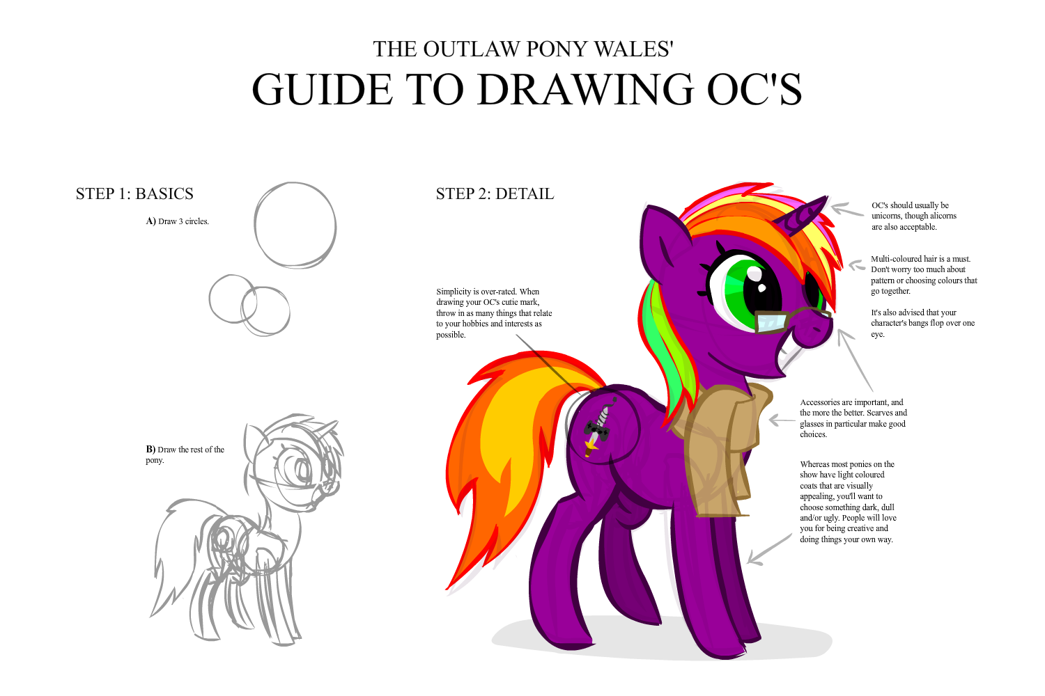 Alicorn drawing guide. Artist lazy clothes