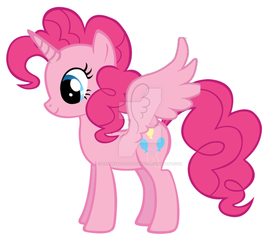 Alicorn drawing pinkie pie. With open wings by