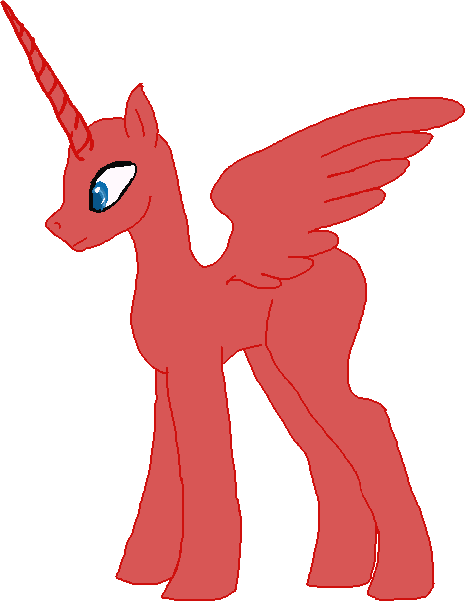 Alicorn drawing red. Male base by stagenamenightmare