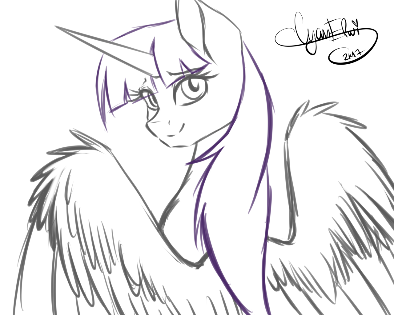Alicorn drawing simple. Artist asembr a