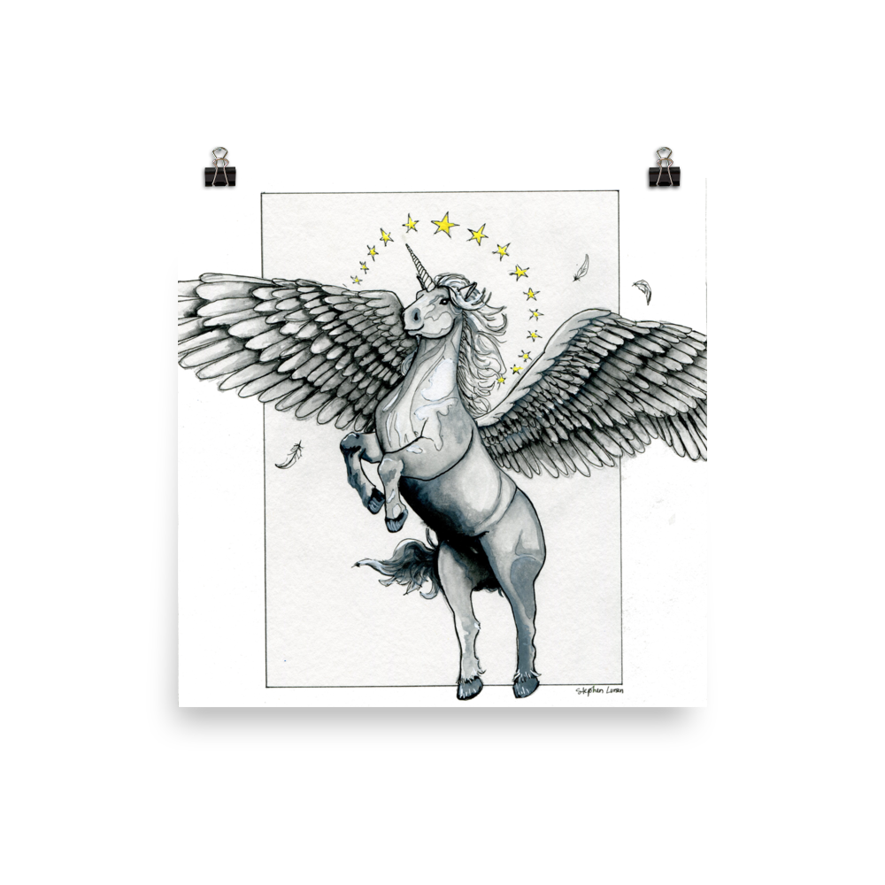 Alicorn drawing flying. Magical star haloed silver