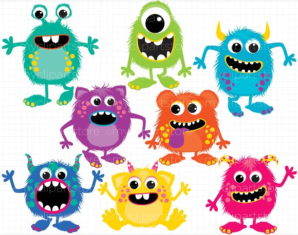 Aliens clipart fluffy. Monsters vector illustrations creative
