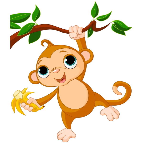 Cute funny cartoon baby. Monkeys eating bananas clipart png vector library library