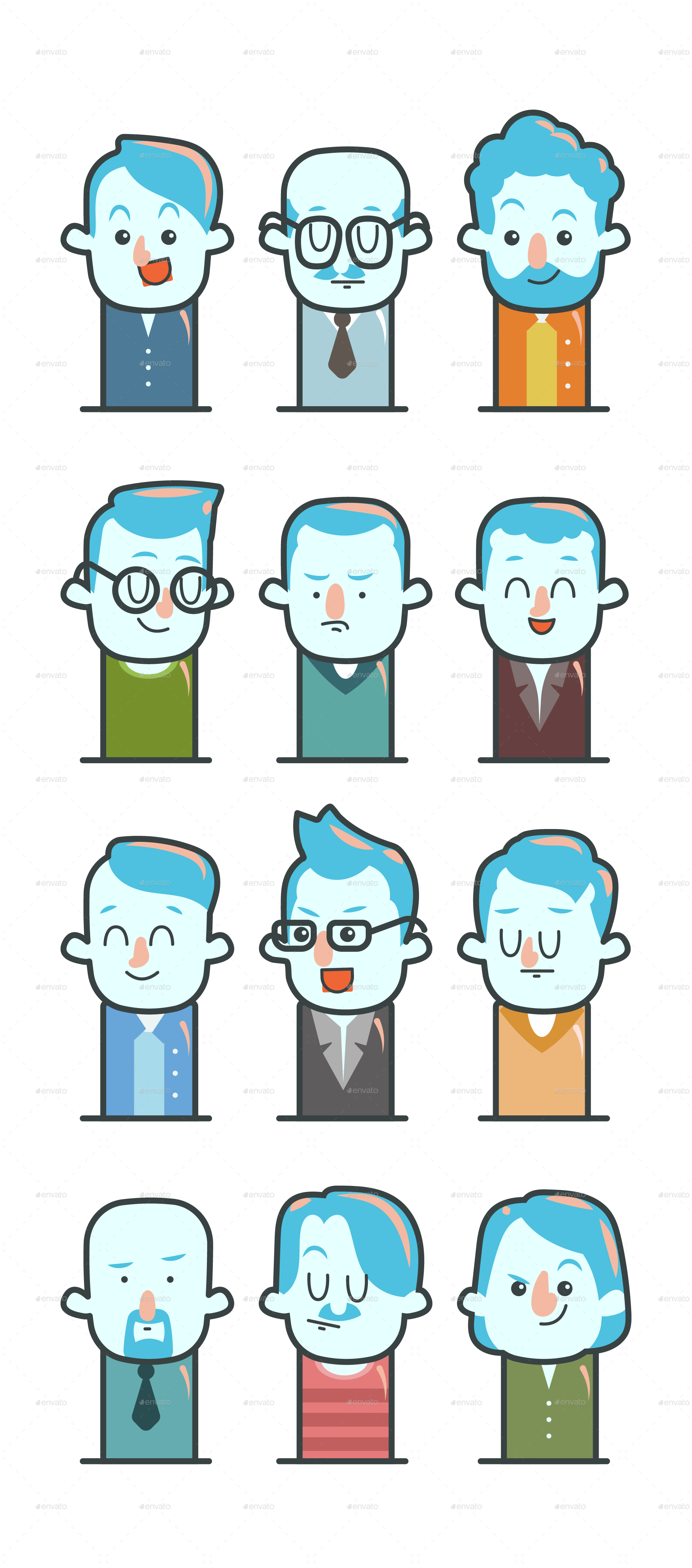 All vector elements. Cartoon male avatar set