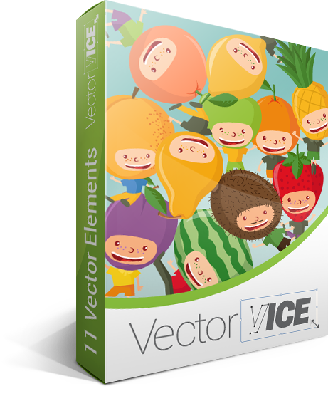 All vector elements. Fruit kids pack download