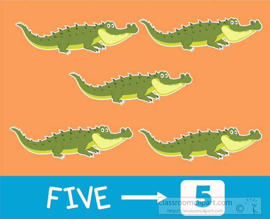 Alligator clipart preschool. Counting number five with