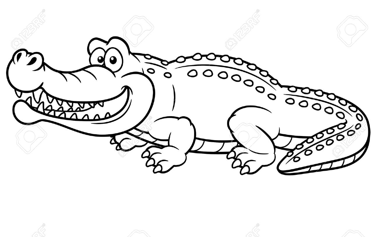 In water drawing at. Alligator clipart preschool vector freeuse