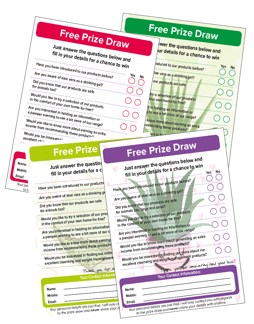 Aloe drawing green plant. Inspired prize draw form