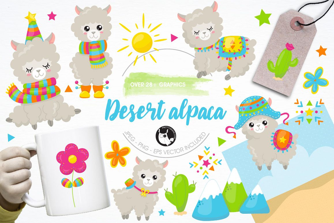 Alpaca clipart party. Graphics and illustrations design