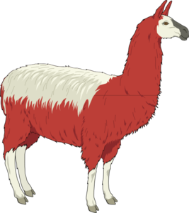 Llama png clipart. Red and white clip