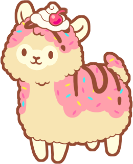 Alpaca transparent drawing. Yummy pastry image indie