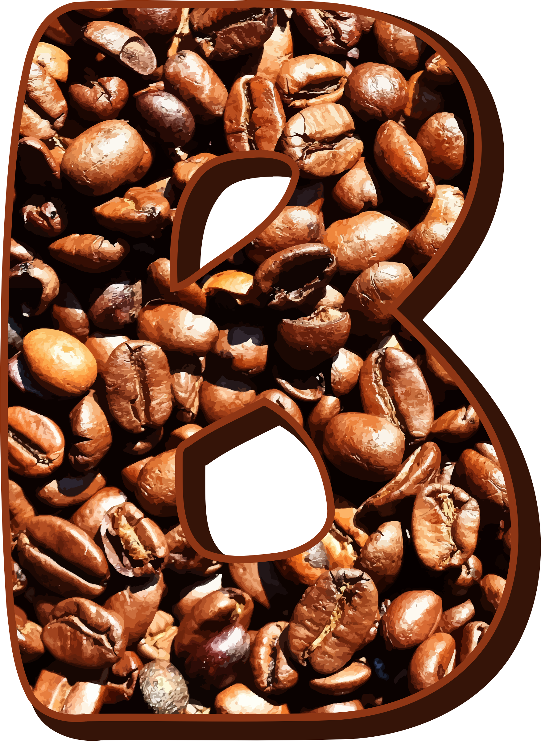 Alphabet coffee png. Clipart beans typography b