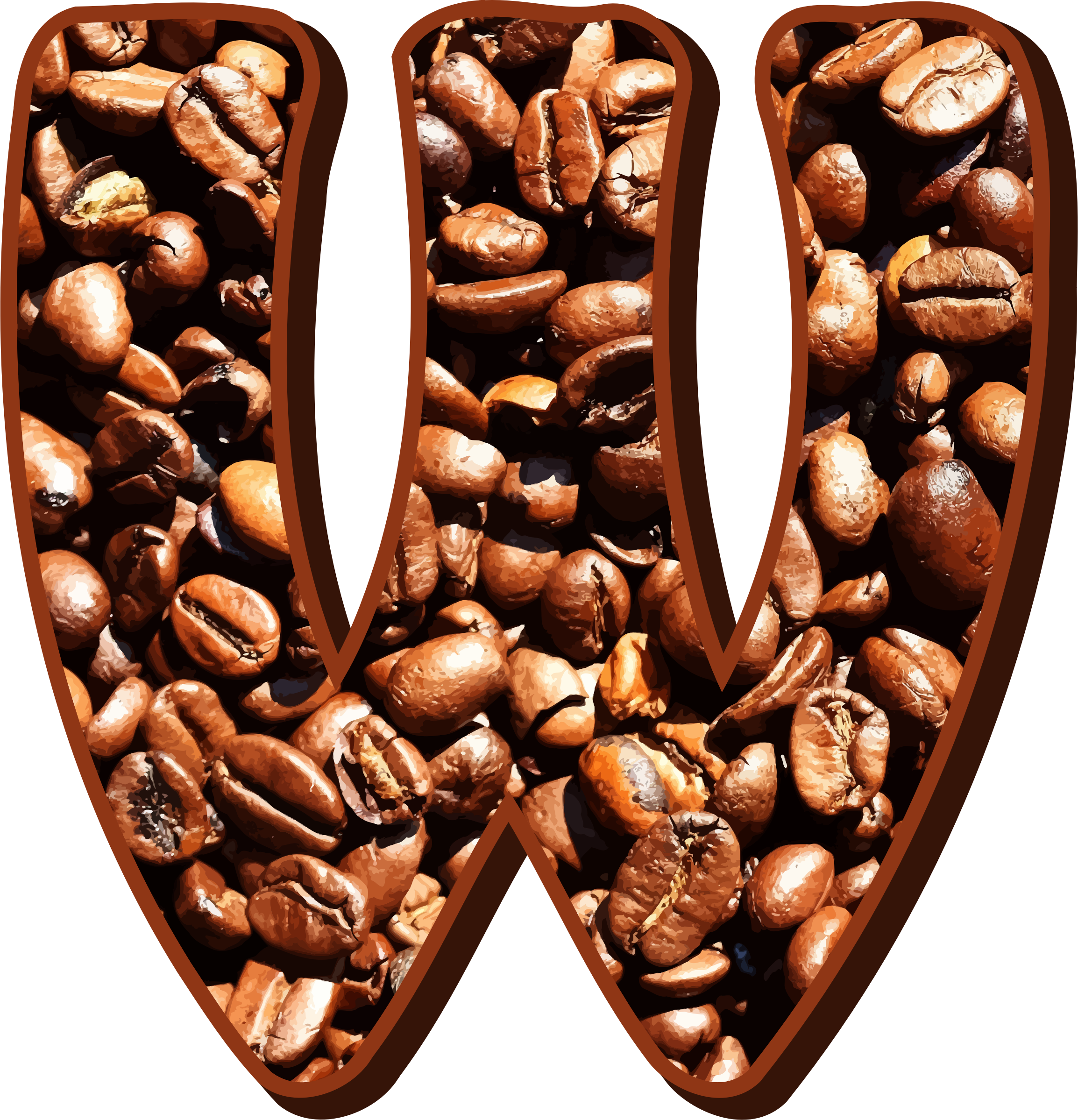 Alphabet coffee png. Clipart beans typography w
