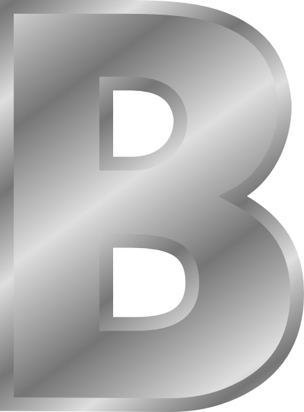 Alphabet letter png. Effect letters silver b
