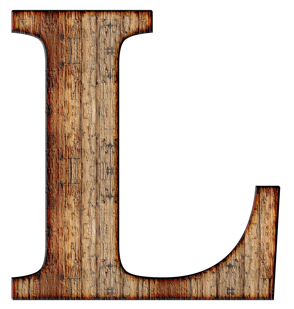 Alphabet wood png. Wooden capital letter l