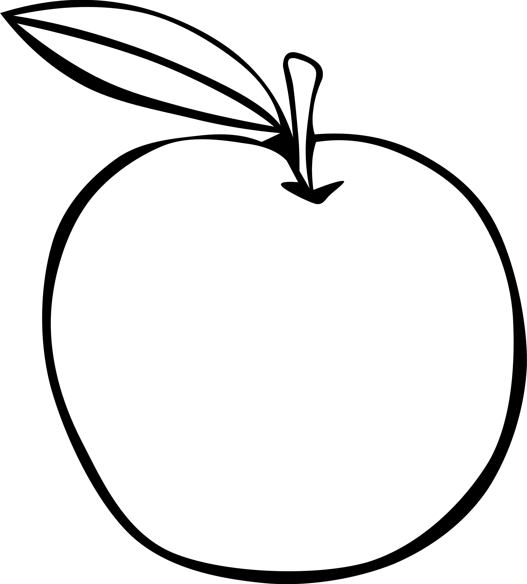 Cross contour fruit at. Drawing apple charcoal clipart freeuse library