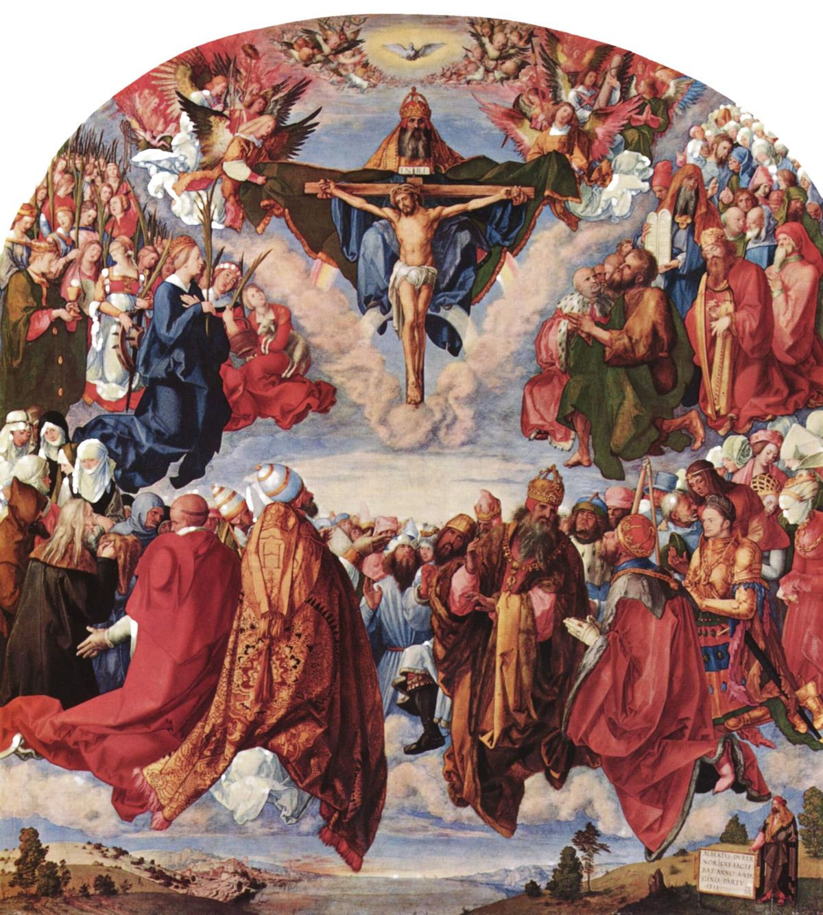 Altar drawing altarpiece. Adoration of the trinity