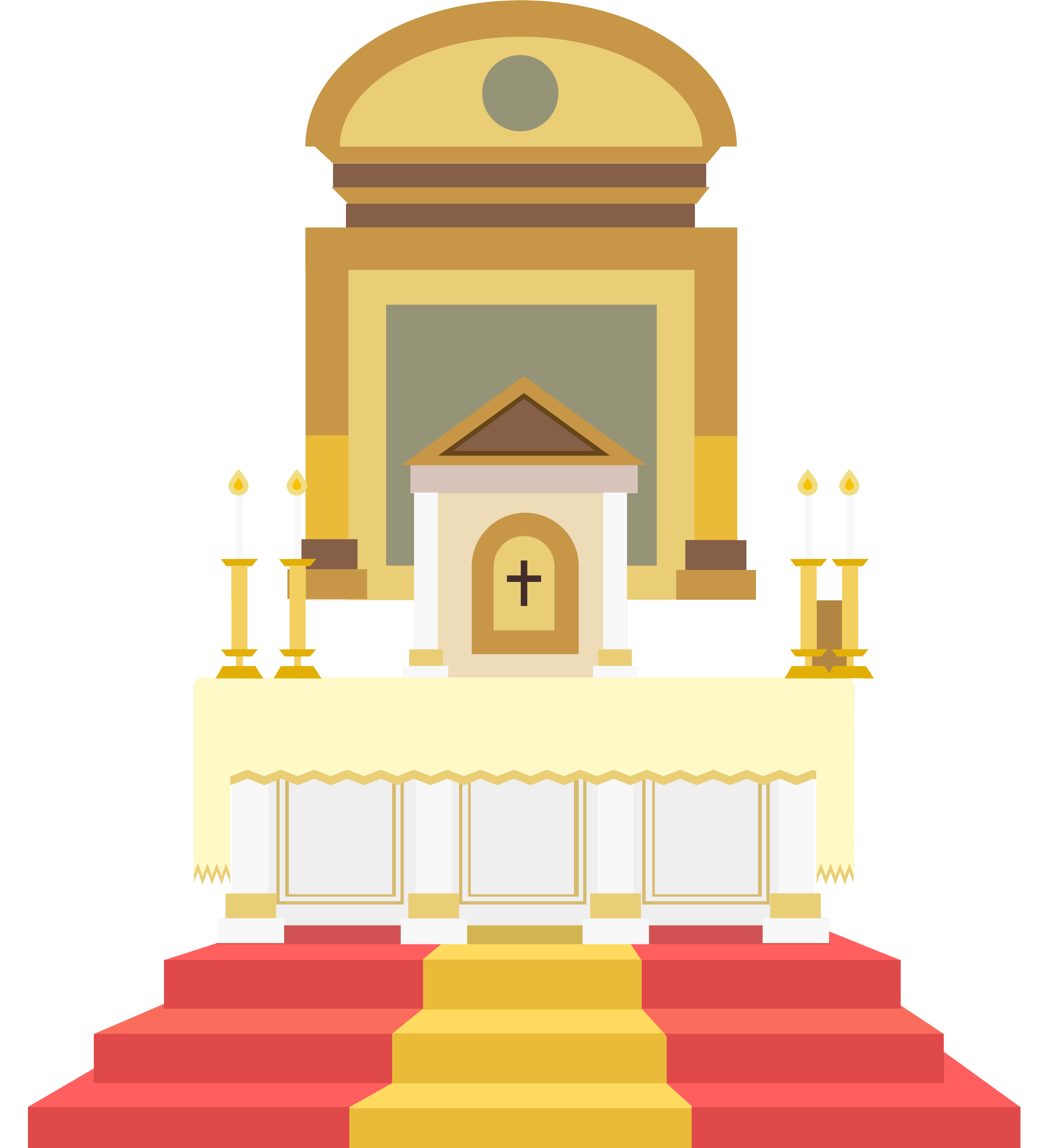 Altar drawing architectural. In the catholic church