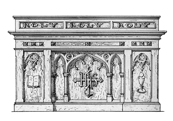 Altar drawing gradine. Altars used church items