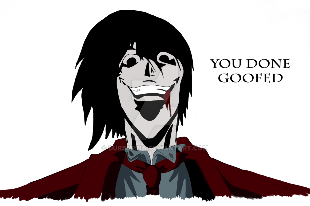 Alucard drawing mouth. Hellsing you done goofed