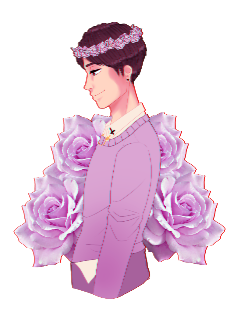 Amazingphil transparent pastel. Dan with a flower