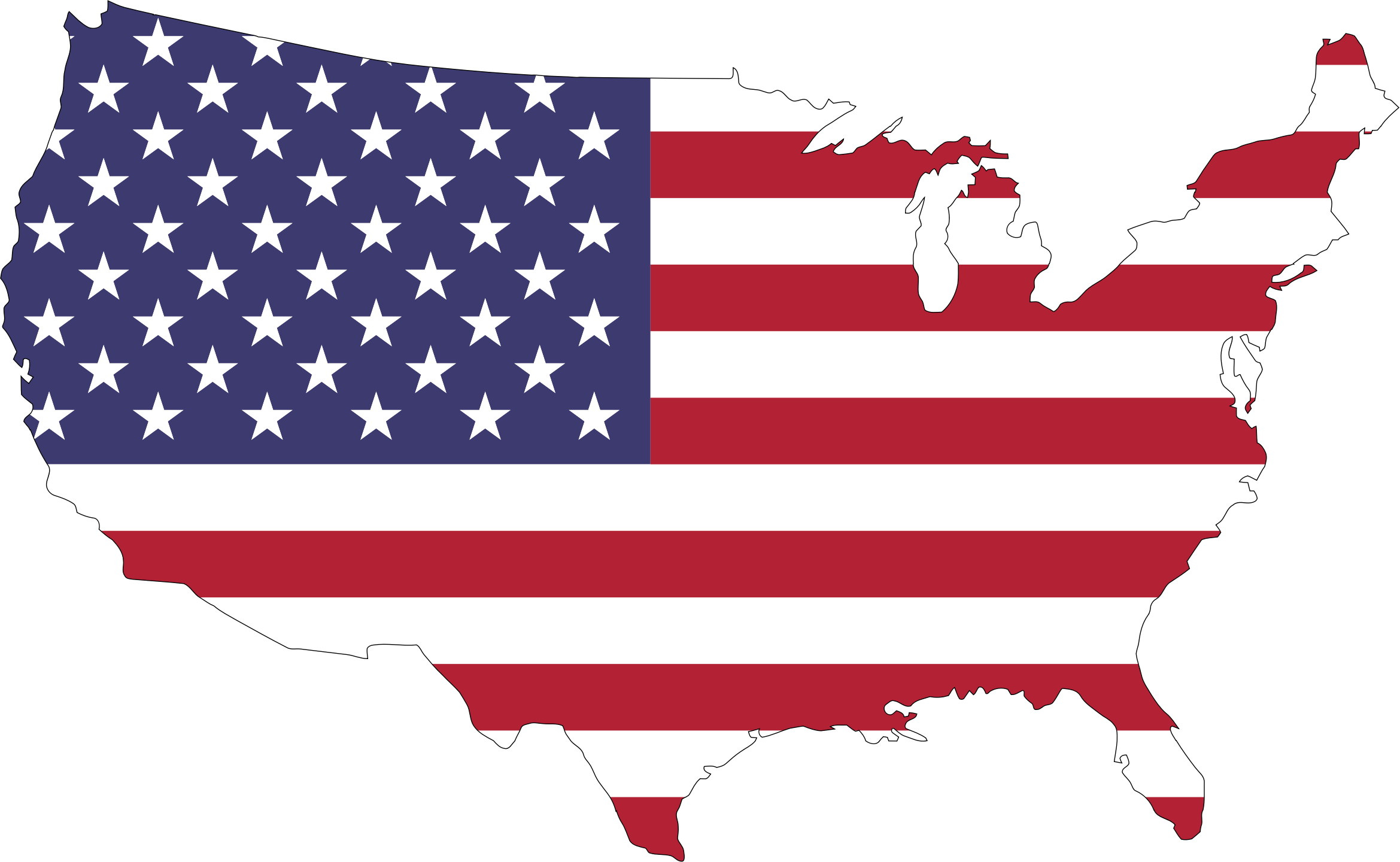 America map png. Flag with stroke icons