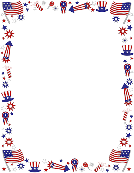 American clipart borders. Patriotic page border featuring