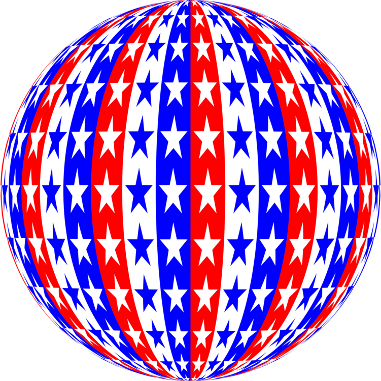 American clipart orb. Line art red blue