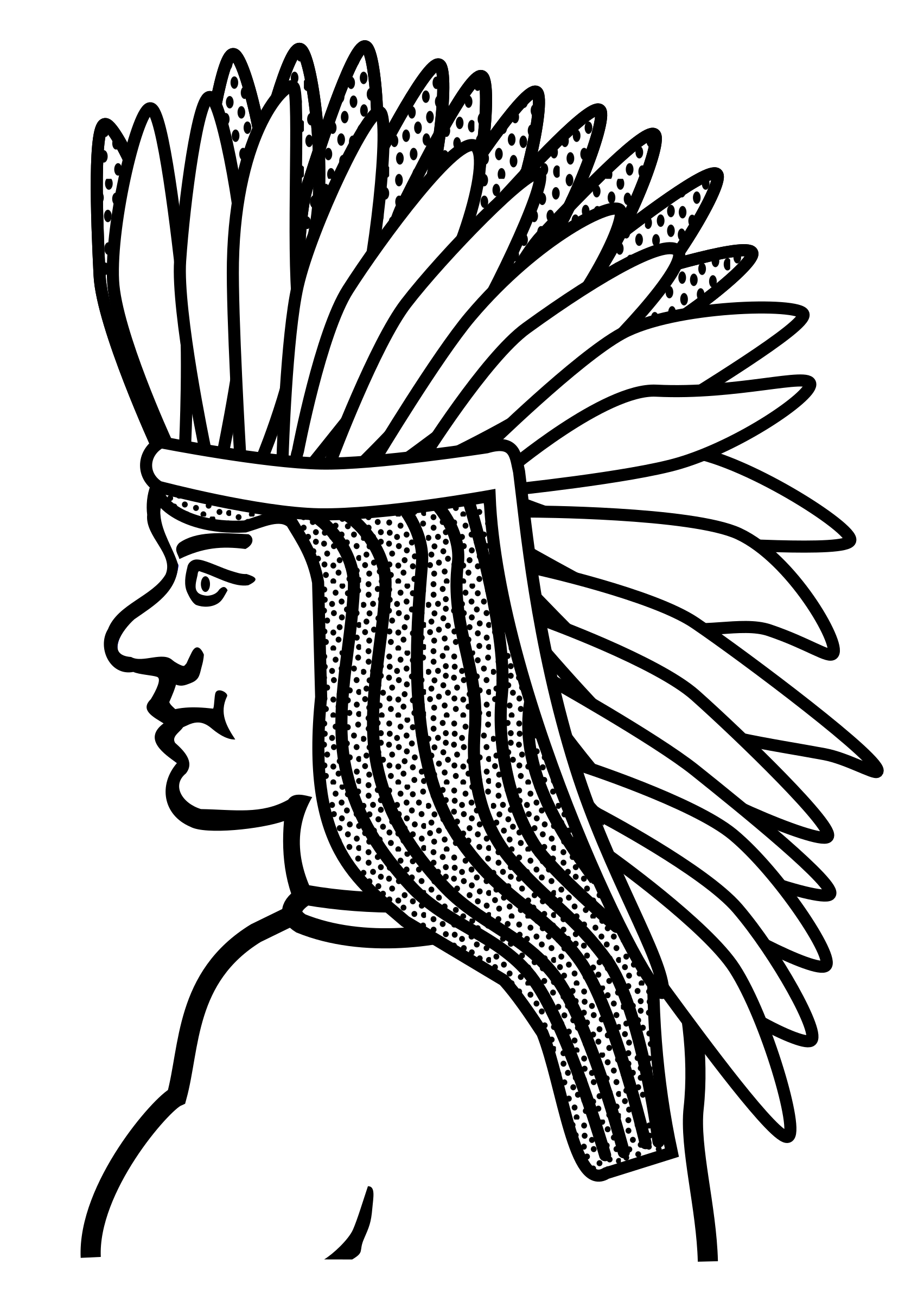 American drawing face. Clipart native lineart big