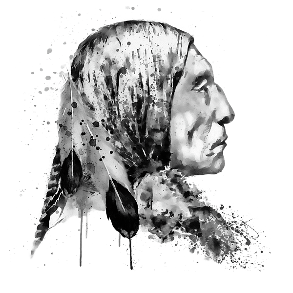 American drawing face. Native side black and